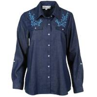 Cathy Daniels Women's Denim Long Sleeve Roll Tab Shirt from Blain's Farm and Fleet