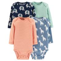 Carter's Infant Boys' Assorted Color Long Sleeve Bodysuit 4-Pack from Blain's Farm and Fleet