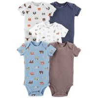 Carter's Infant Boys' Assorted Color Short Sleeve Animal Bodysuit 5-Pack from Blain's Farm and Fleet