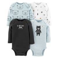 Carter's Infant Boys' Assorted Color Long Sleeve Bear Bodysuit 4-Pack from Blain's Farm and Fleet