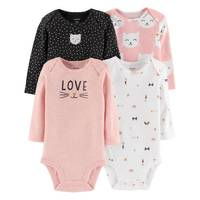 Carter's Infant Girls' Assorted Color Long Sleeve Cat Bodysuit 4-Pack from Blain's Farm and Fleet