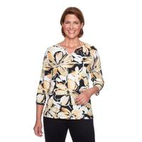 Alfred Dunner Women's Black 3/4 Sleeve Exploded Floral Top from Blain's Farm and Fleet
