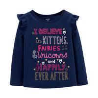 Carter's Toddler Girls' Long Sleeve I Believe In Kittens Tee Navy from Blain's Farm and Fleet