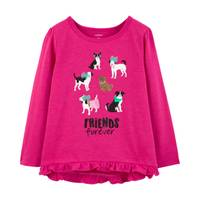 Carter's Toddler Girls' Long Sleeve Friends Forever Dog Tee Pink from Blain's Farm and Fleet