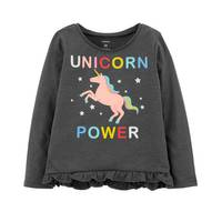 Carter's Toddler Girl's Gray Heather Unicorn Power Hi-Lo Ruffle Tee from Blain's Farm and Fleet