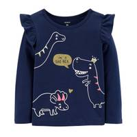 Carter's Toddler Girls' Long Sleeve Dinosaur Tee Navy from Blain's Farm and Fleet