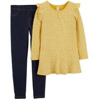 Carter's Big Girls' 2-Piece Floral Pant Set Yellow & Denim from Blain's Farm and Fleet