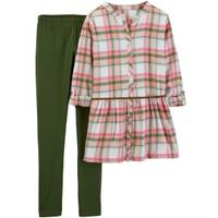 Carter's Big Girls' 2-Piece Plaid Pant Set Olive & Pink from Blain's Farm and Fleet
