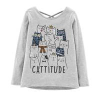 Carter's Big Girls' Long Sleeve Cattitude Tee Heather from Blain's Farm and Fleet