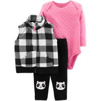 Carter's Infant Girls' Black & Pink Buffalo Check Vest Set from Blain's Farm and Fleet