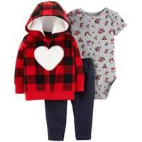 Carter's Infant Girls' Red & Black Girl Heart Cardigan Set from Blain's Farm and Fleet