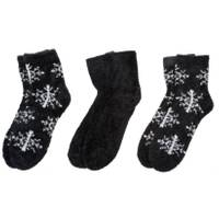 CG | CG Women's 3-Pack Cozy Socks Snowflake Black from Blain's Farm and Fleet