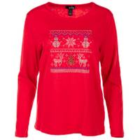 Erika Misses' Christmas Long Sleeve Tee Festive from Blain's Farm and Fleet