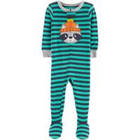 Carter's Infant Boys' 1-Piece Cotton Stripe Racoon Pajamas Turquoise from Blain's Farm and Fleet
