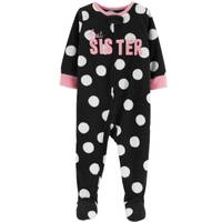 Carter's Toddler Girls' 1-Piece Fleece Polka Dot Pajamas White from Blain's Farm and Fleet