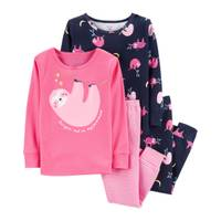 Carter's Toddler Girls' 4-Piece Cotton Sloth Pajamas Navy & Pink from Blain's Farm and Fleet