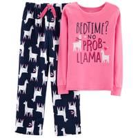 Carter's Girls' 2-Piece Fleece Llama Pajamas Pink & Navy from Blain's Farm and Fleet