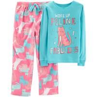 Carter's Big Girls' 2-Piece Fleece Woke Up Feline Pajamas Turquoise from Blain's Farm and Fleet