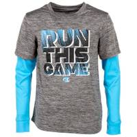 Champion Big Boys' Long Sleeve Run This Game Tee Silver from Blain's Farm and Fleet