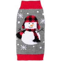 Mission Pets Cozy Buffalo Plaid Snowman Sweater from Blain's Farm and Fleet