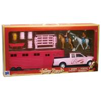 New Ray 1:20 Pink Pickup with Horse Trailer from Blain's Farm and Fleet