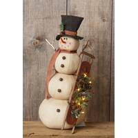 Your Hearts Delight by Audrey Snowman Holding Sled from Blain's Farm and Fleet