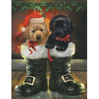 Leanin' Tree 12-Count Puppies Notelet Christmas Cards from Blain's Farm and Fleet