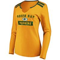 Fanatics Misses' Green Bay Packers Foil Essen L & Tee Gold & Green from Blain's Farm and Fleet