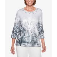 Alfred Dunner Misses' 3/4 Sleeve Tree Print Knit Grey from Blain's Farm and Fleet