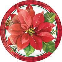 Creative Converting 8 Count Christmas Poinsettia Dinner Plates from Blain's Farm and Fleet