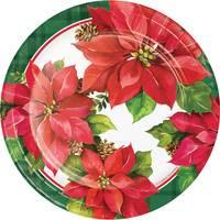 Creative Converting 8 Count Christmas Poinsettia Luncheon Plates from Blain's Farm and Fleet