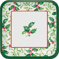 Creative Converting 8-Count Holly Berries Dinner Square Plate from Blain's Farm and Fleet
