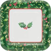 Creative Converting 8-Count Holly Berries Luncheon Square Plate from Blain's Farm and Fleet