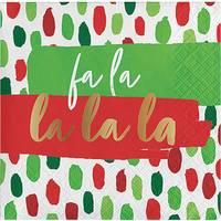 Creative Converting 16-Count FaLaLa Beverage Foil Napkin from Blain's Farm and Fleet