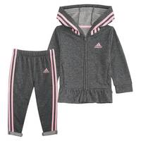 Adidas Toddler Girl's Sparkle Jacket Set Grey from Blain's Farm and Fleet