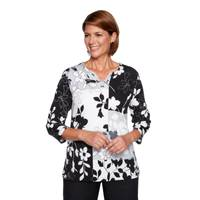 Alfred Dunner Misses' 3/4 Sleeve Floral Patch Knit Top from Blain's Farm and Fleet