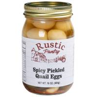Rustic Pantry 16 oz Spicy Pickled Quail Eggs from Blain's Farm and Fleet