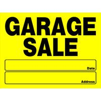 Hillman Yellow Garage Sale Sign from Blain's Farm and Fleet
