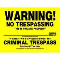 Hillman High-Contrast No Trespassing Sign from Blain's Farm and Fleet