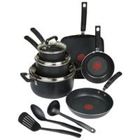 T-Fal Black Signature 12 Piece Nonstick Cookware Set from Blain's Farm and Fleet