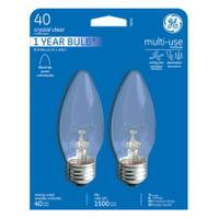 GE Crystal Clear Multi Purpose Blunt Tip Light Bulb 2 Pack from Blain's Farm and Fleet