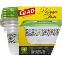 Glad Designer Medium Rectangle Food Storage Containers from Blain's Farm and Fleet