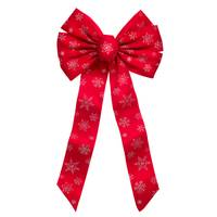Holiday Trims Glitter Snowflake Christmas Bow from Blain's Farm and Fleet