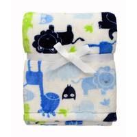 Baby Starters White & Green &  Safari Printed Velour Blanket from Blain's Farm and Fleet