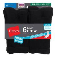 Hanes Boys'  Crew Socks 6 Pairs from Blain's Farm and Fleet