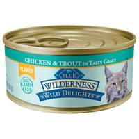 Blue Buffalo Wilderness Wild Delights Chicken & Trout Flaked Wet Cat Food from Blain's Farm and Fleet