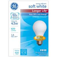 GE 4 Pack 43W Longer Life Soft White Bulbs from Blain's Farm and Fleet