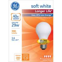 GE 4 Pack 29 Watts Longer Life Soft White Bulbs from Blain's Farm and Fleet