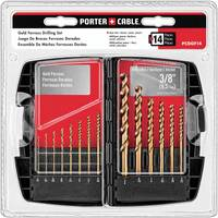 PORTER-CABLE 14 Piece Gold Ferrous Oxide Drill Bit Set from Blain's Farm and Fleet
