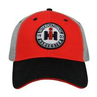 International Harvester Men's Black & Red Two Tone Distressed Trucker Cap from Blain's Farm and Fleet